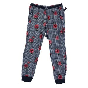 New Plaid Rose Jogger Pajama Pants Sleep Lounge